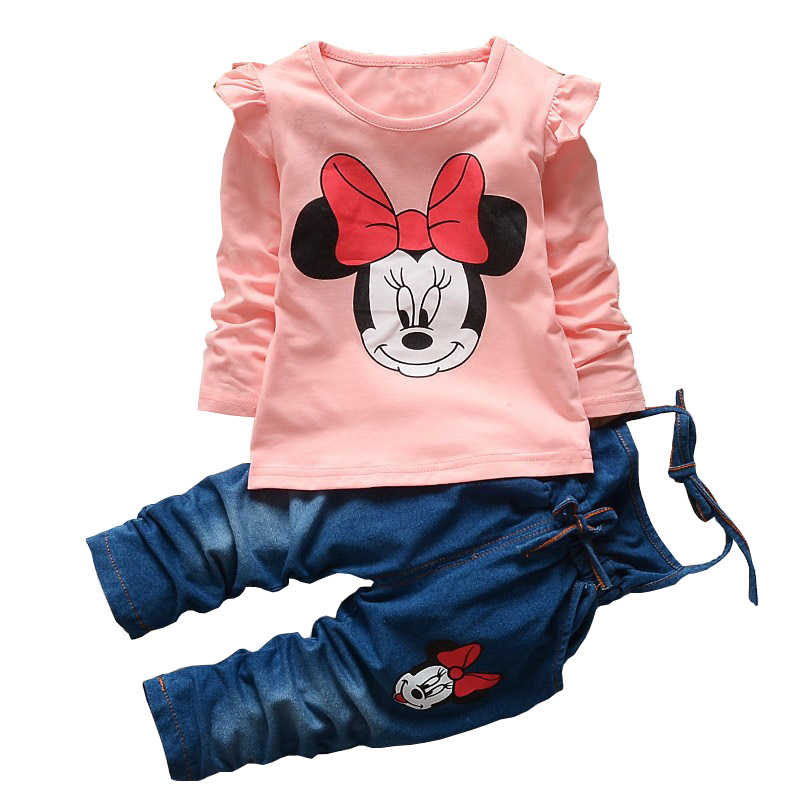 BibiCola spring autumn baby girls clothing Set fashion T-shirt+Denim Overalls cartoon baby Clothing Set kids girls clothes set