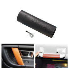 1pc Cow Leather Car Interior Door Handle/Ceiling Safe Handle Protective Cover Trim For Land Rover Discovery Sport 2016 2017 2018