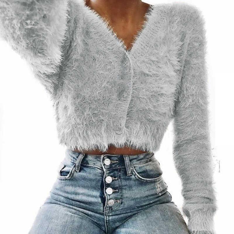 Nuevo abrigo corto de felpa de punto de otoño-invierno para mujer, cuello en V, manga larga, cruzado, informal, ajustado, Sexy, Tops de talla grande 3XL 6Q2252