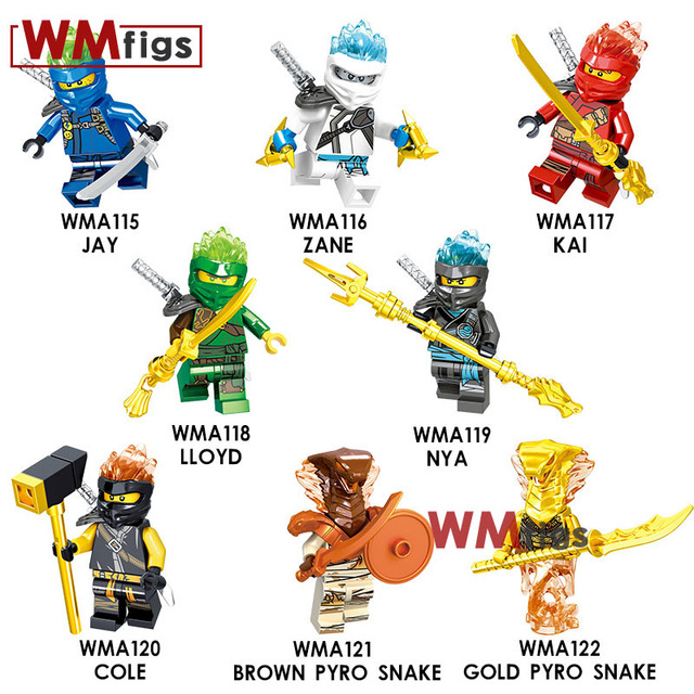 Ninjagoes Movie Crystal Hair Jay NYA Kai Zane Llyod Swprd Cole Brown Gold Pyro Snake Building Blocks Ninja Figures Children Toys