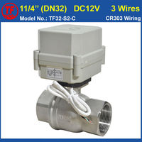 DC12V 24V 3 Wires Motorized Water Valve 1 1 4 DN32 SS304 For Water Treatment Drinking
