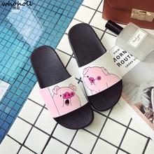 купить WOHOLL Cute Cartoon Pig Summer Slippers Women 2019 New Summer Slides Flat Shoes Home Outside Beach Flip Flops Ladies Sandals по цене 879.73 рублей