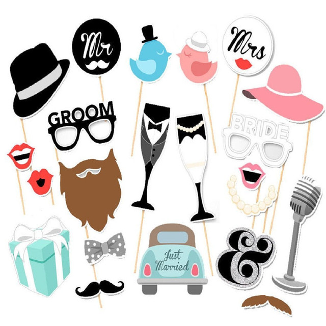 wedding photo booth props party funny mask diy mr mrs bride groom photobooth bridal shower decoration