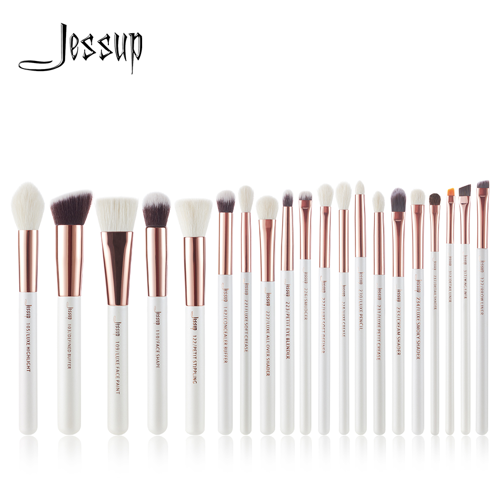 Jessup Pearl White/Rose Gold Professional Makeup Brushes Set Make up Brush Tools kit Foundation Powder Cosmetic Beauty tools jessup 5pcs black gold makeup brushes sets high quality beauty kits kabuki foundation powder blush make up brush cosmetics tool