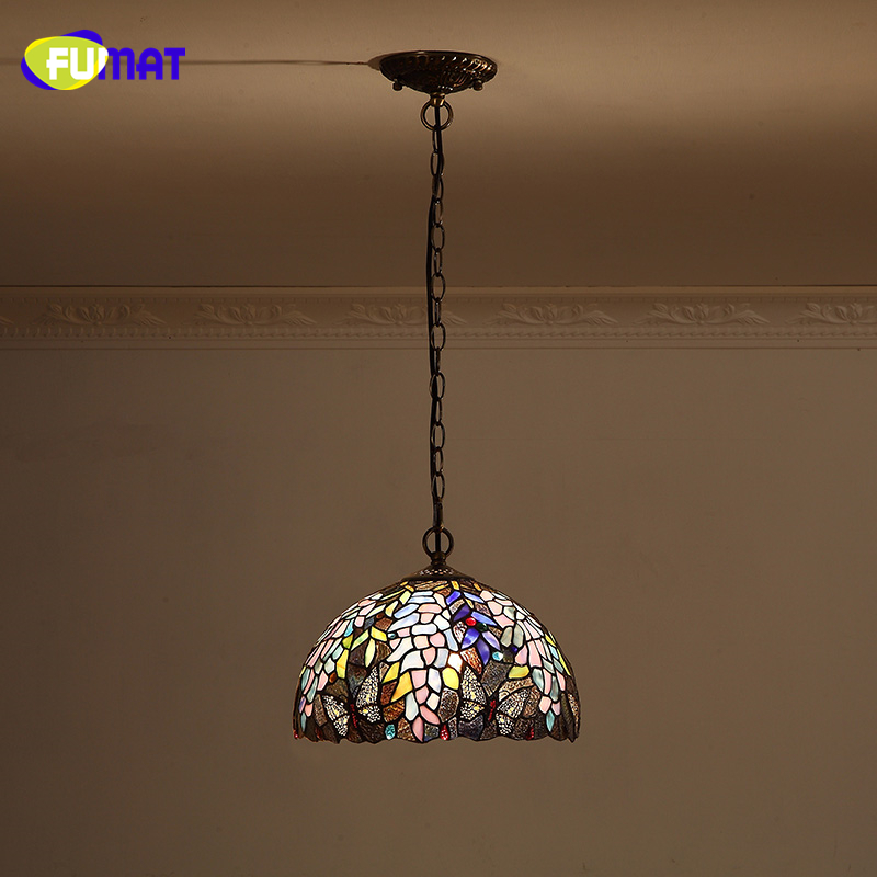 FUMAT Stained Glass Pendant Light European Style Wisteria &Butterfly Shade Lights For Kitchen Living Room LED Pendant Lamps fumat stained glass pendant lamps european style baroque lights for living room bedroom creative art shade led pendant lamp
