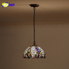 FUMAT Stained Glass Pendant Light European Style Wisteria &Butterfly Shade Lights For Kitchen Living Room LED Pendant Lamps