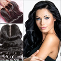 """3.5 """" * 4 """" 8A humano cierre con cordones peruana virgin hair body wave blanqueado nudo medio 3 parte del cordón de cierre cierre frontal del cordón barato"""