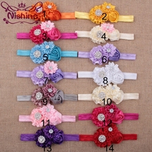 Nishine 14pcslot Rose Flower Headband With Rhinestone Button Kids' Hair Accessories Handmade Girls Headwear Christmas Gift