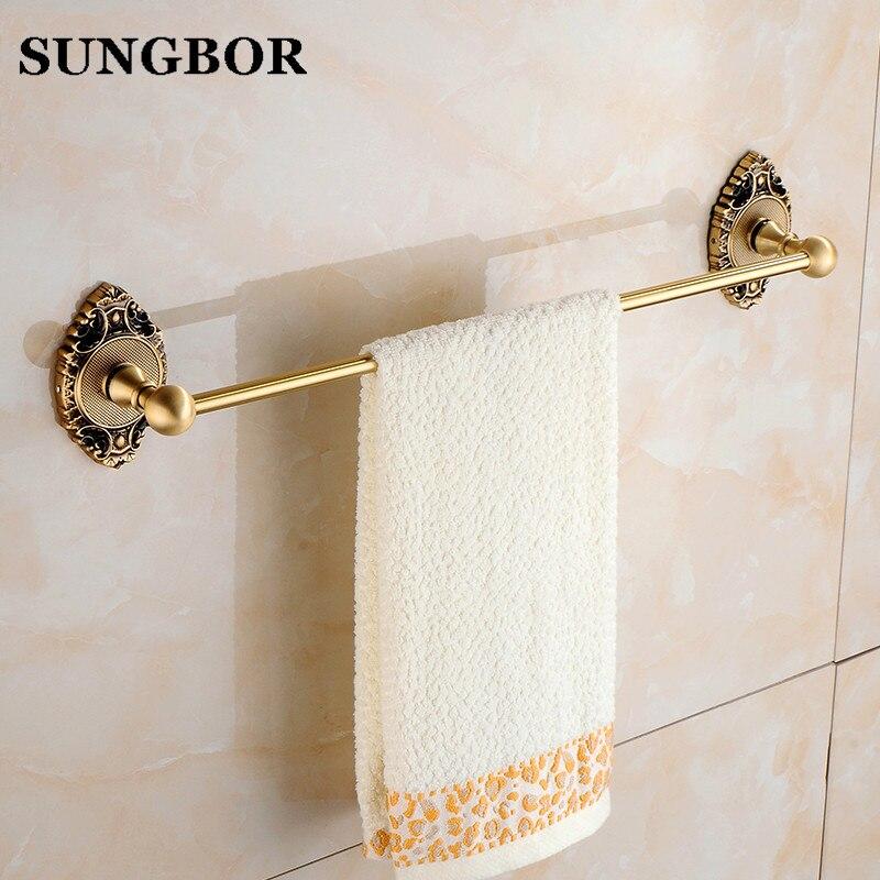 Solid Brass Antique Brass Bathroom Towel Bar Towel Rack Holder Single Bar Vintage Style Wall Mounted