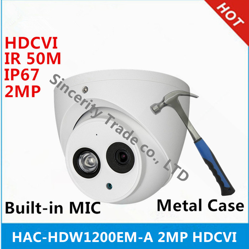 DH HAC HDW1200EM A HDCVI 2MP DOME Camera built in mic CMOS 1080P IR 50M IP66