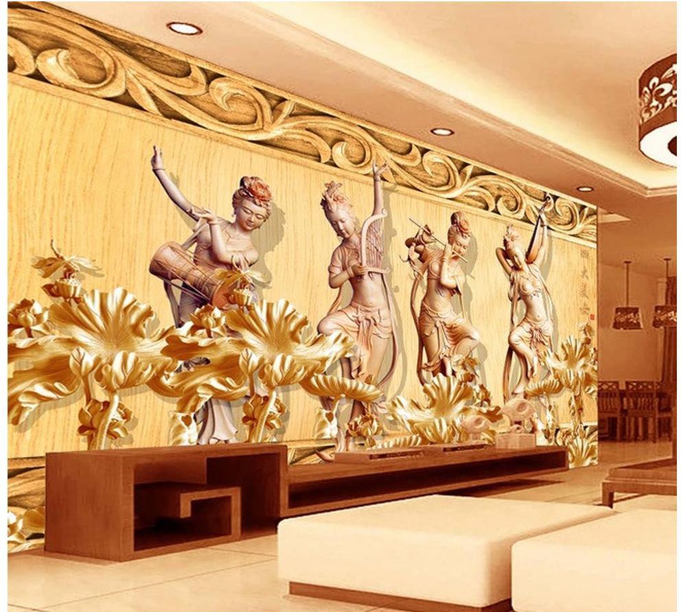 3d customized wallpaper 3d wallpaper lotus fairy four for 3d customized wallpaper