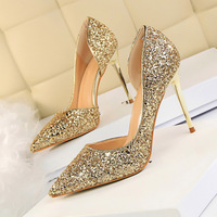2018 Women Luxury Stiletto 10cm High Heels Sexy Sequins Glitter Sparkly Pumps Female Fashion Scarpins Wedding Sliver Ivory Shoes
