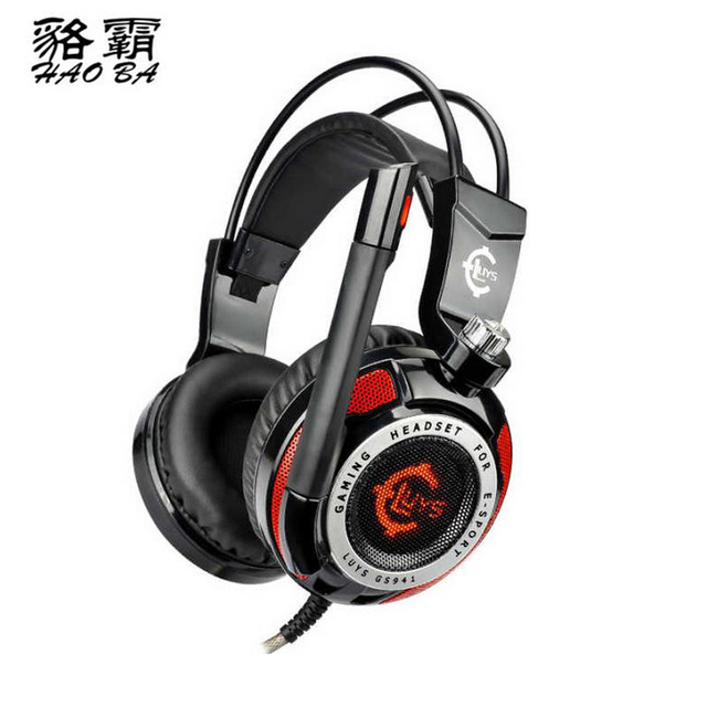HAOBA High quality GS941 headphones USB7.1 red black universal vibration game headset for Recording engineer