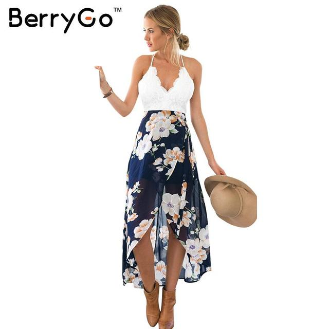 Berrygo encaje de playa de estilo informal de verano backless dress mangas de la manera profunda v cuello mujeres vestidos de hendidura sexy print dress 2017