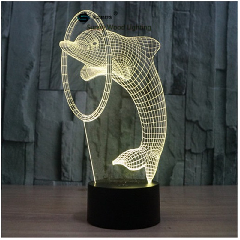 Dolphin touch switch LED 3D lamp ,Visual Illusion 7color changing 5V USB for laptop, desk decoration toy lamp