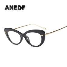 939cecdb0 ANEDF 2018 القط العين إطارات النظارات النساء أنماط الموضة العلامة التجارية البصرية  نظارات الكمبيوتر Oculos دي غراو نظارات اكسسوا.
