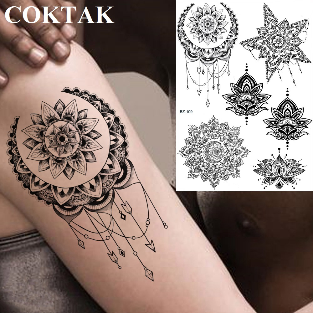 COKTAK redondo Flor de Henna Luna joya falsa indios tatuajes pegatinas impermeables mujeres brazo Foream tatuaje personalizado colgantes temporales