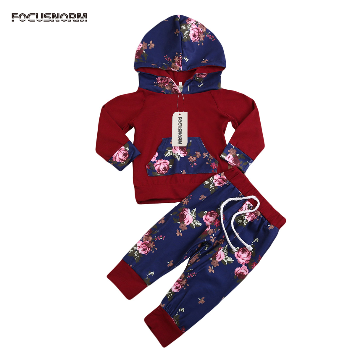 2017 Newborn Infant Baby Boy Girls Long Sleeve Hooded T-shirt+Pants Outfit Cute Floral Print Warm Clothes Sets