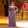 2016 Marrom Meia Manga Rendas Plus Size Mãe dos vestidos de Noiva vestidos de Renda Com Decote Em V longo Vestido de Noite do Baile de Finalistas do Vestido mae da noiva