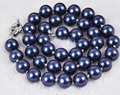 2015 Fashion 10mm South Dark Blue Shell Pearl Necklace Pearl Beads Fashion Jewelry Rope Chain Necklace Natural Stone 18INCH