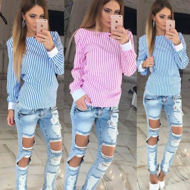 2018 Мода белый полосатый открытой спиной сексуальные топы милые Для женщин блузка рубашка с длинными рукавами Для женщин Летняя одежда Большие размеры