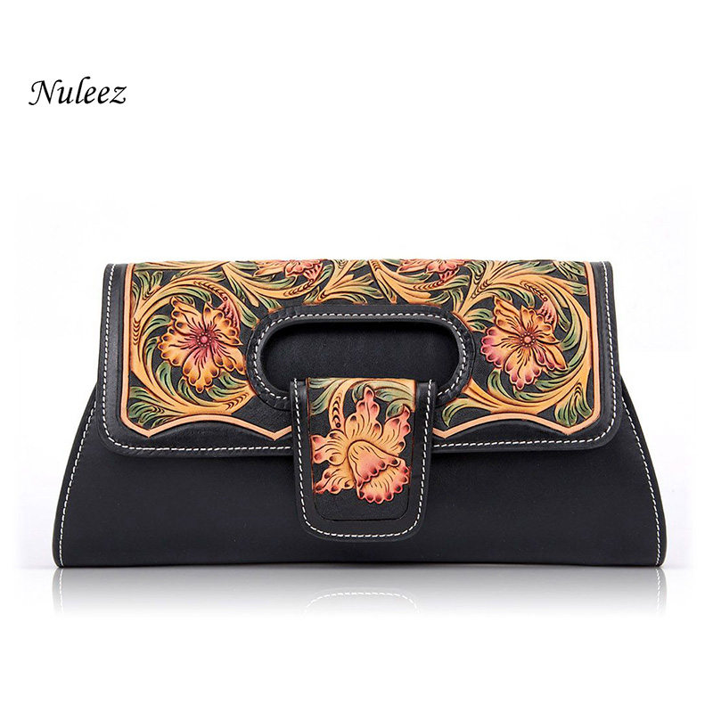 Nuleez Italy genuine leather evening bag fashion lady clutch bag Chinese hand-carved and drawing floral luxury 2018 Nuleez Italy genuine leather evening bag fashion lady clutch bag Chinese hand-carved and drawing floral luxury 2018