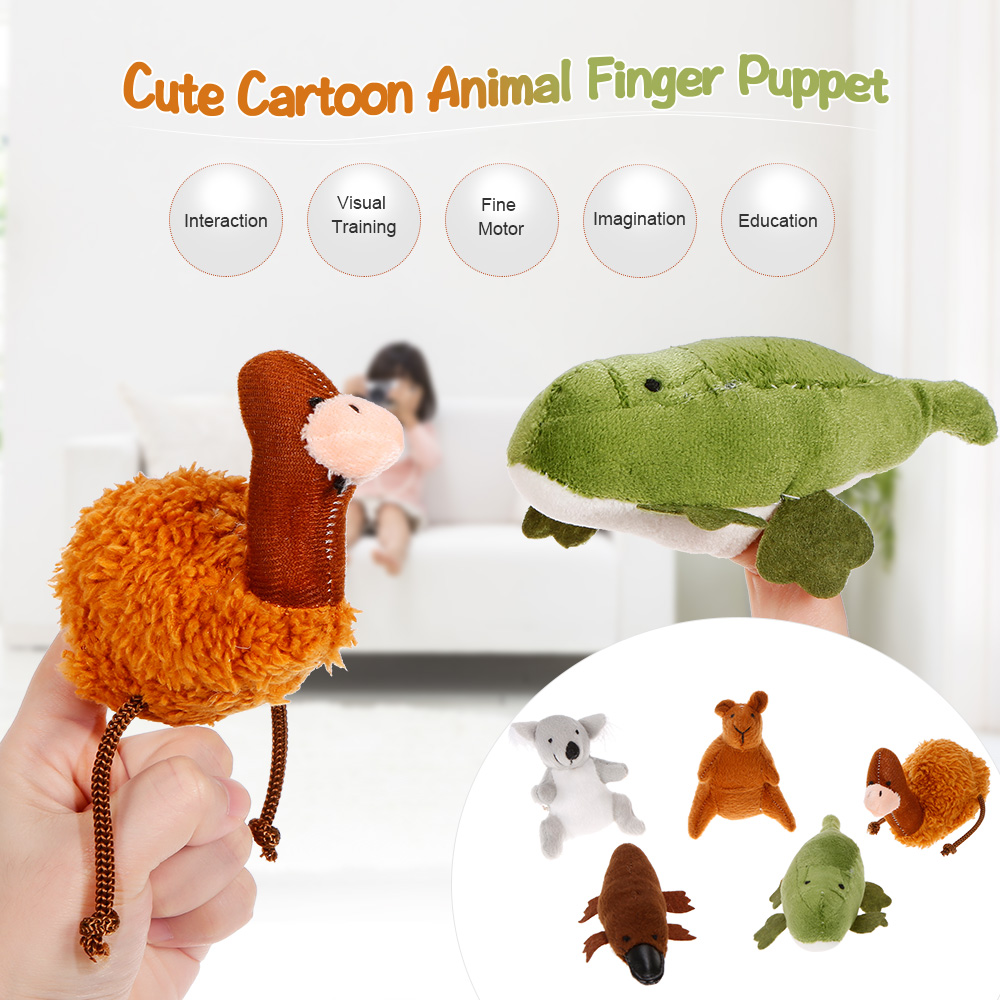 5pcs/lot Puppets Animais Australian Animal Finger Puppet Talking Props Baby Learning Plush Toy Hand Puppets for Kids RP60