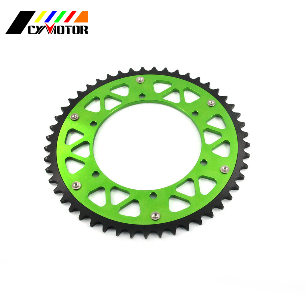 Motorcycle 44 46 47 48 49 50 51 52 Rear Chain Sprocket For KAWASAKI KX125 KDX200 KX250 KX500 KX KLX KDX RMZ 125 200 250 500 motorcycle leather soft anti slip seat cover for kawasaki kx125 kx250 kx 125 250 1994 1995 1996 1997 1998 motocross dirt bike