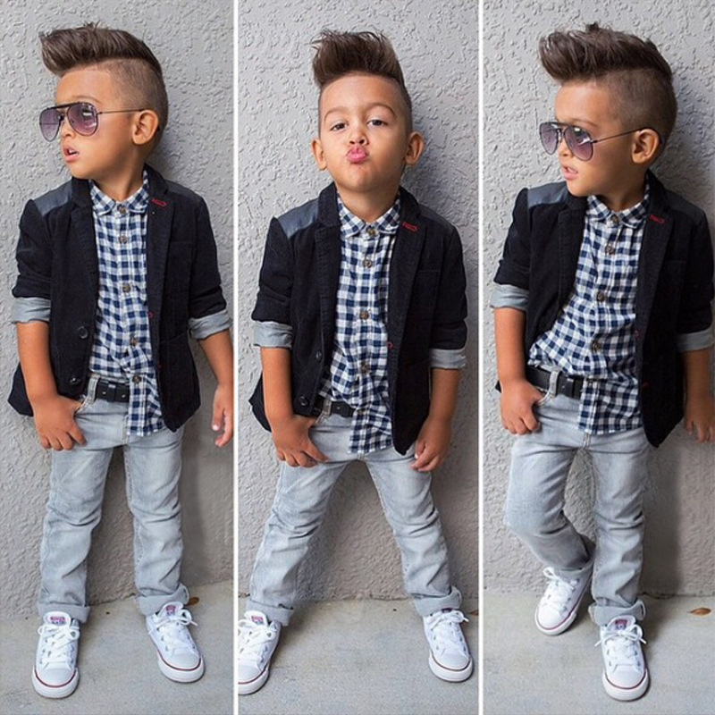 3pcs Toddler Kids Baby Boys Gentleman Black Coat+Plaid Shirt+Jeans Pants Clothes Outfits Set Children Autumn Clothing Set 4