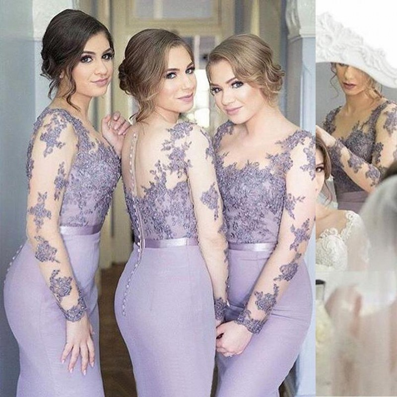 Lilac Mermaid Long   Bridesmaid     Dresses   With Long Sleeves Beaded Lace Appliques Stretch Satin Women Formal Wedding Party   Dress