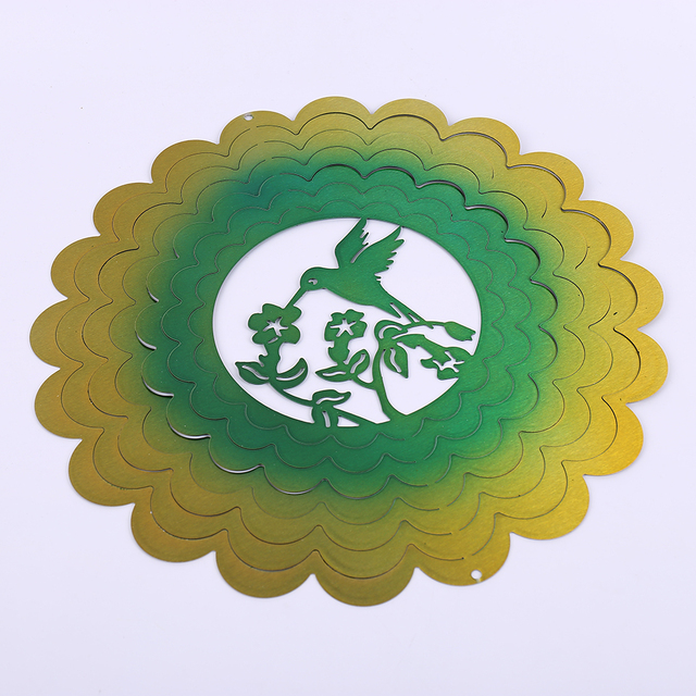 12 INCHES 3D WIND SPINNER HUMMINGBIRD WITH GOOD QUALITY MADE FROM STAINLESS STEEL SHEET