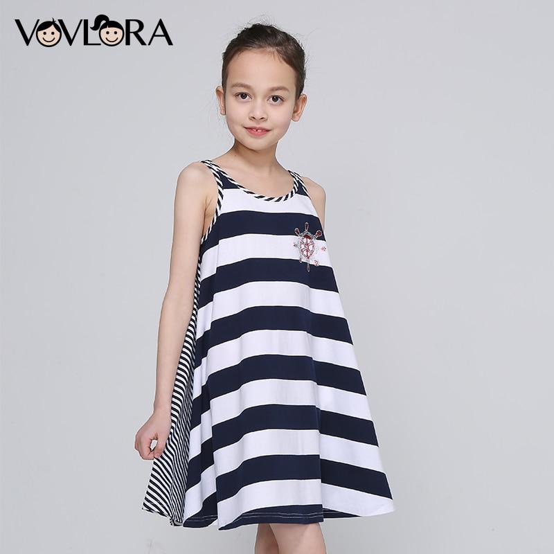 Striped Cotton Tank Girls Braces Dress O-neck Tops Loose Kids Beach Dress Summer 2018 Children Clothes Size 7 8 9 10 11 12 Years все цены