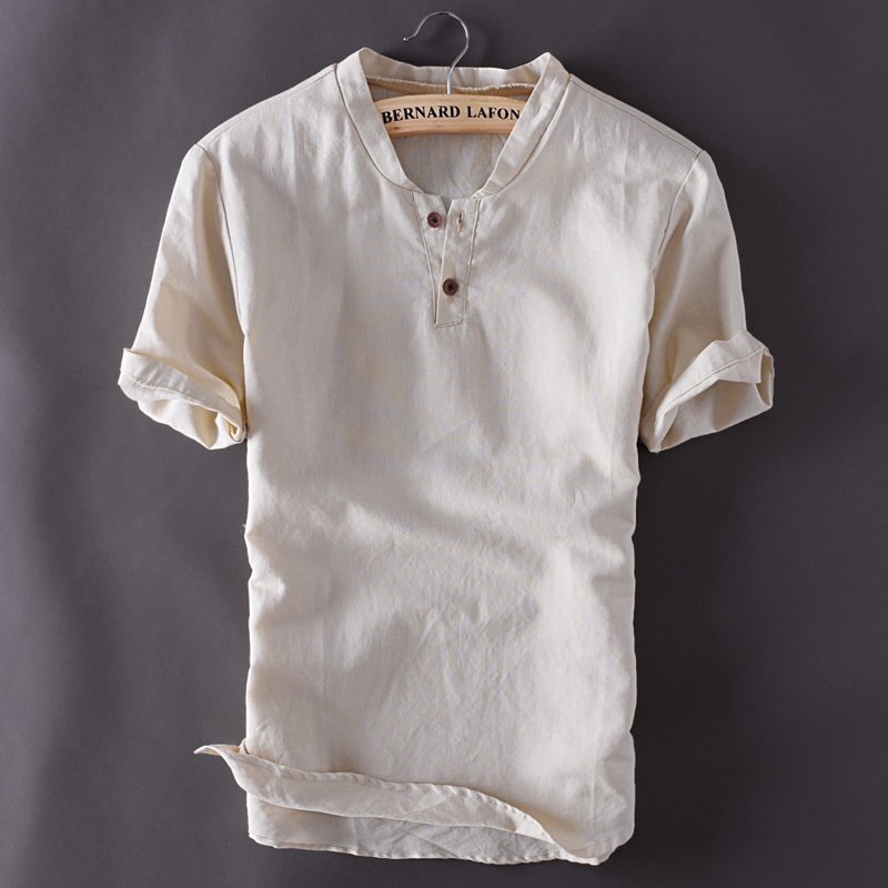 Plus Size M-5xl Mens Pullover Linen Shirts Short Sleeve Summer Mens Quality Casual Shirts Slim Fit Solid Cotton Shirts Ts-150a