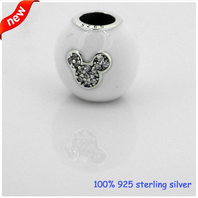 Grânulos de prata serve para pandora pulseiras eu amo mickey original novo 100% 925 prata esterlina encantos jóias diy atacado 08134
