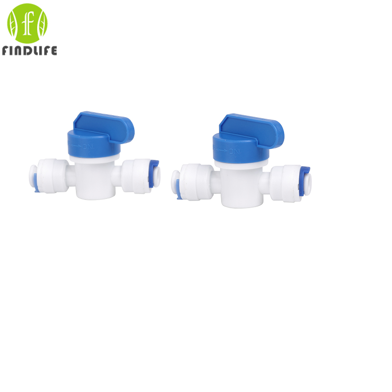 2 pcs Water Filter Parts 1/4OD Ball Valve for Tube Quick Connect Switch Water Purifier RO Reverse Osmosis System