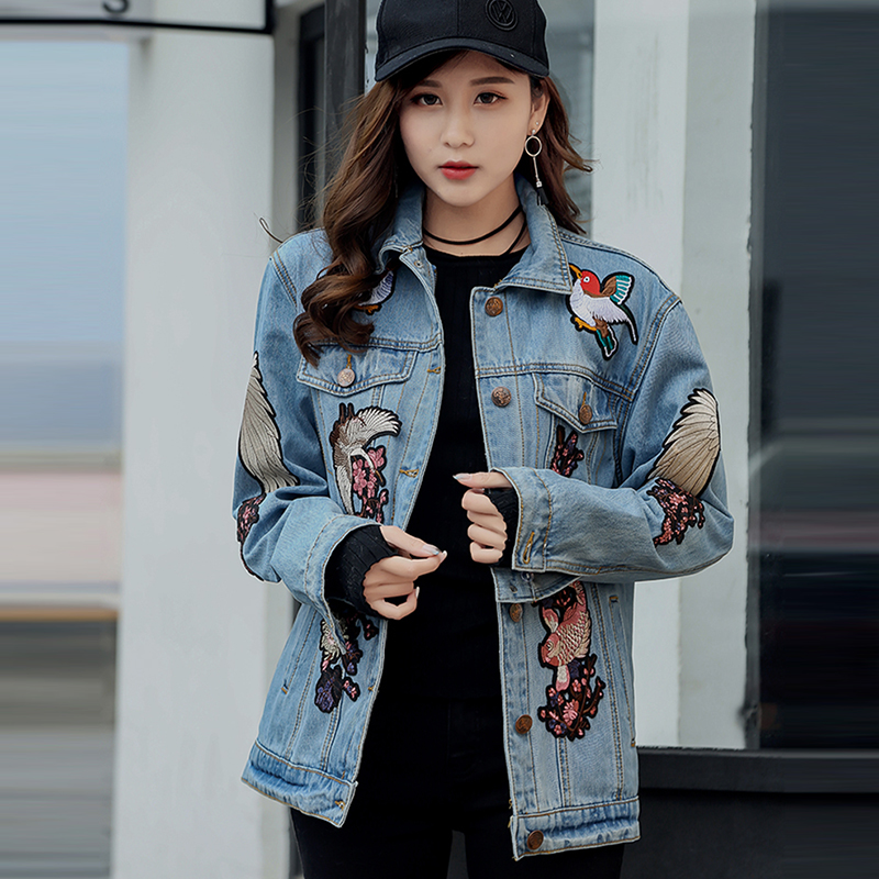 Harajuku Fashion Spliced Cartoon Dinosaur Denim Jacket Womens Clothing Light Color Spring Casual Long Jacket Streetwear Styles Women's Clothing Basic Jackets