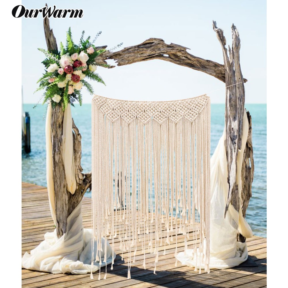 OurWarm Wedding DIY Bohemian Photo Backdrop Indoor or Outdoor Decoration Fringe Garland Banner Home Party Supplies Romantic
