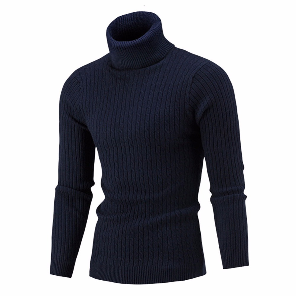 Sweater Men 2019 Brand Pullovers Casual Sweater Male High Collar Solid Simple Slim Fit Knitting Mens Sweaters Man Pullover Men