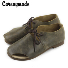 Careaymade-Hotsales,2018 Summer sandals, women's hand-made personality leather shoes, fish mouth flat bottom leisure sandals