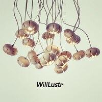 Современные деревянные подвесные лампы цветочный Рисунок деревянной подвеской свет ресторан office для дома столовая медь клубней повесить о