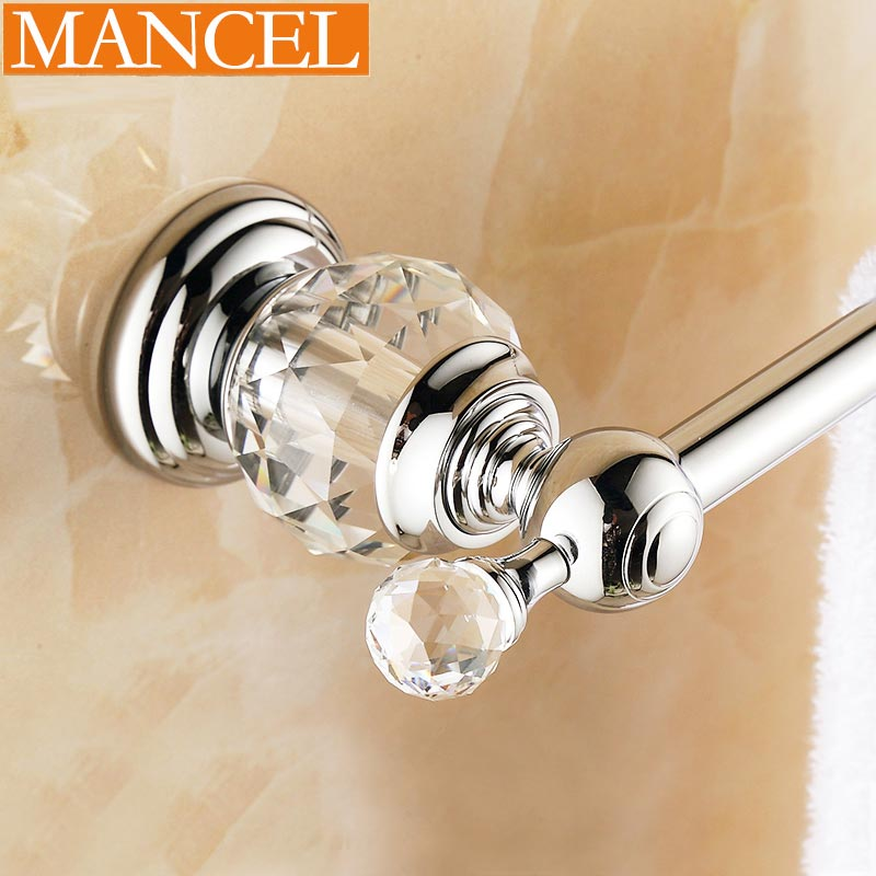 MANCEL Chrome Finish Brass Crystal Towel Rack Bathroom Accessories Wall Mounted 20 Inch Single
