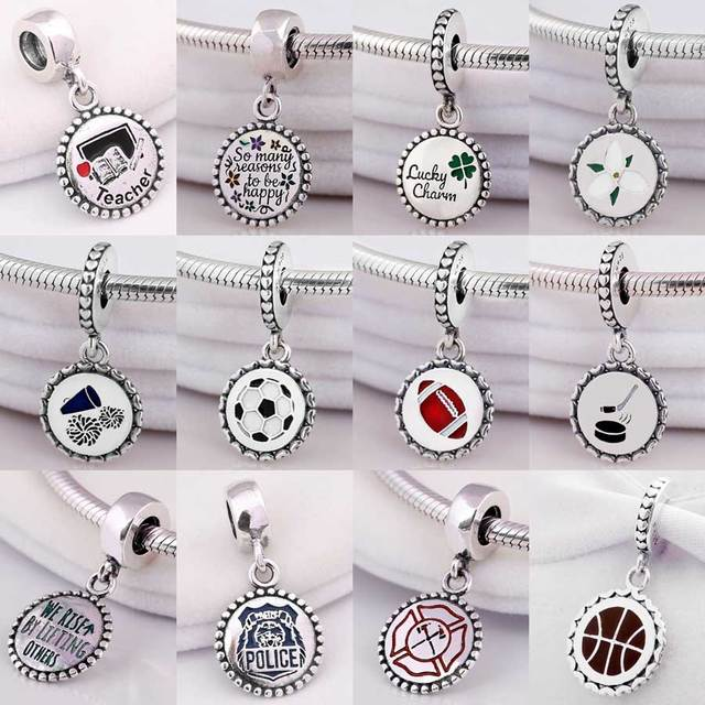 cf0d6d963 Teacher So Many Reasons To Be Happy Axe Disk Clover Lucky Pendant Charm Fit Pandora  Bracelet 925 Sterling Silver Bead Jewelry