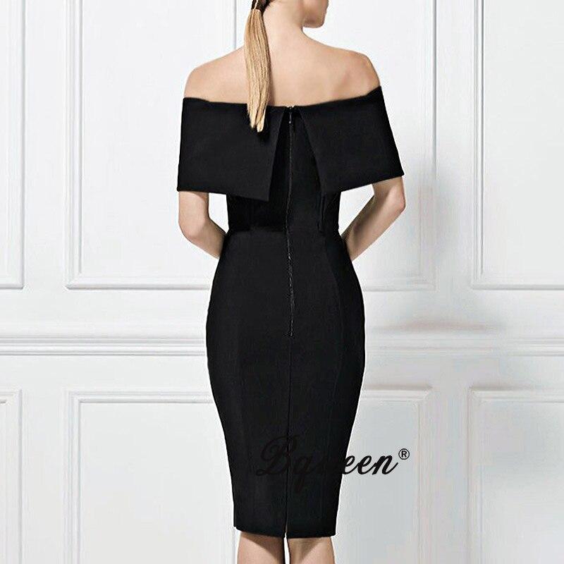 Noir Hors Robe 2017 Sexy Épaule Femmes Célébrité Bodycon Bqueen Nouvelles xzq8I6wqA