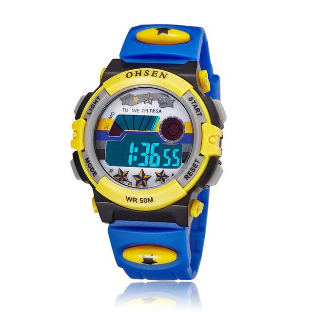 Azul Crianças Relógios Desportivos feminilidade Digital LED Relógio de Quartzo Relogio de Pulso À Prova D' Água Ao Ar Livre 1603-5