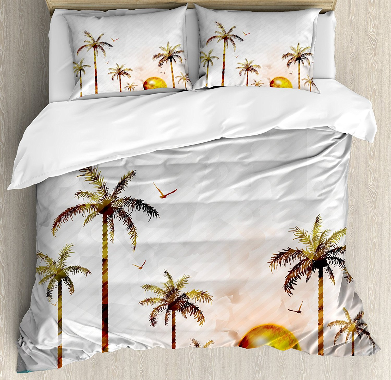 Hawaiian Duvet Cover Set Watercolor Style Tropical Island with Coconut Trees and Birds Sunset Art Print 4 Piece Bedding Set