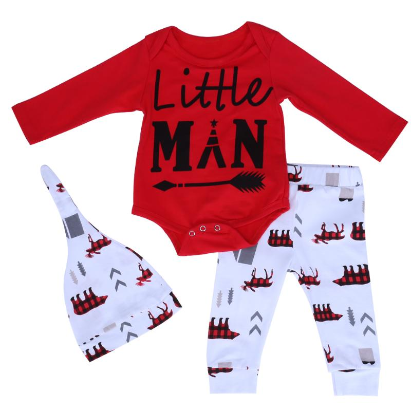 New Years Baby Costume Boys Girl Clothes Set Christmas Infant Letter Printed Romper Pants Hat 3pcs Clothing