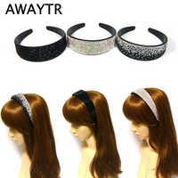 AWAYTR Solid Breiten Stirnband für Frauen Mode Strass Haarband Mädchen Headwear Kristall für Damen Haar Zubehör 4 Farben
