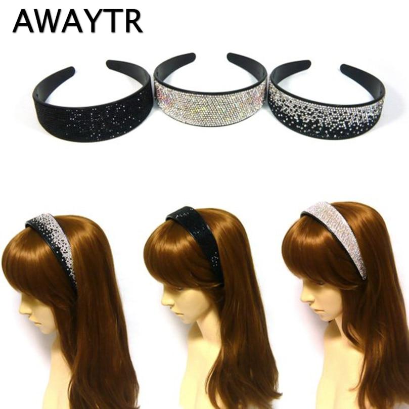 AWAYTR Solid Wide Headband For Women Fashion Rhinestone Hairband Girls Headwear Crystal For Ladies Haar Accessoires 4 Colors