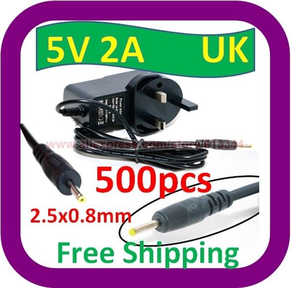 500 шт. Бесплатная доставка Универсальный 2.5 мм x 0.8 мм Великобритании Адаптеры питания AC Зарядное устройство 5 В 2A для Android Планшеты pc La