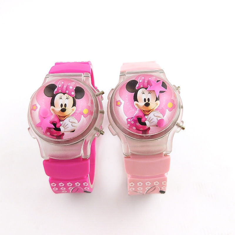 Flash Light Minnie Kids Watch Silicone Strap Girl Watch Flip Cover Fashion Lantern Children Watch Boy Gife Watch Reloj Mujer